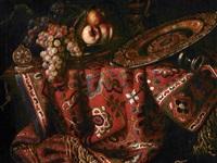 natura morta con tappeto, frutta e bacile by francesco fieravino (il maltese)