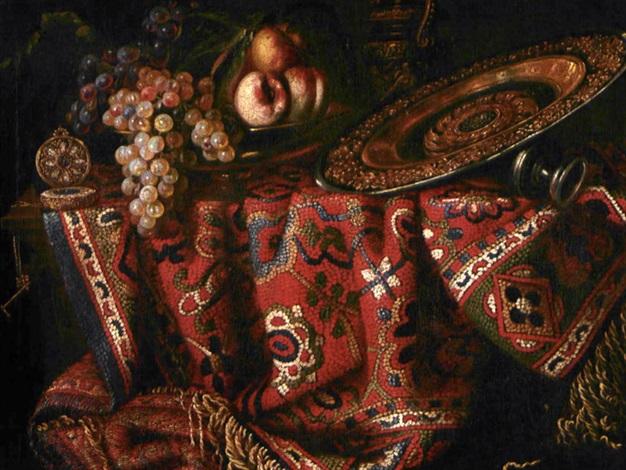natura morta con tappeto frutta e bacile by francesco fieravino il maltese