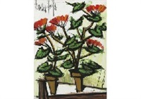deux pots de geraniums by bernard buffet