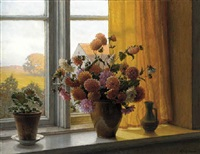 chrysanthemums in a vase on a window-sill by wilhelm andersen