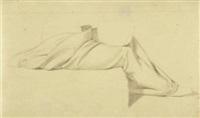 gewandstudie einer sitzenden zu moses vertreibt die hirten by bonaventura genelli