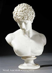 bust of antinous (after the imperial roman prototype) by orazio andreoni