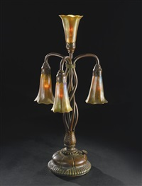 four-light lily table lamp by louis comfort tiffany