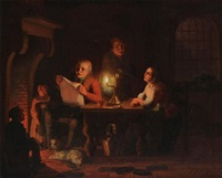 interior with figures at a table by candlelight by johann mongels culverhouse
