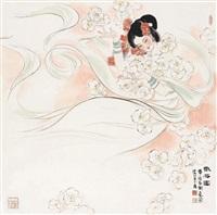 散花图 镜片 设色纸本 ( lady) by liu danzhai