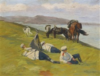 resting dragoons, the russo-japanese war by nikolai semenovich samokish