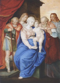 the holy family with saints by giulio clovio