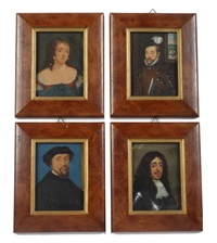 four portraits of historical figures including sir william stanley kg (c.1435-1495) (4 works) by george perfect harding