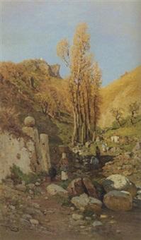 washerwomen at work in a brook, sicily by otto geleng