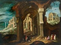 paesaggio con rovine e figure by filippo d' angeli