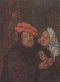 a peasant smoking with a maid in an interior by johannes fransz hals