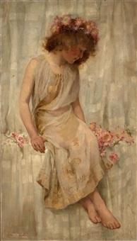 jeune fille aux fleurs roses by helen howard hatton