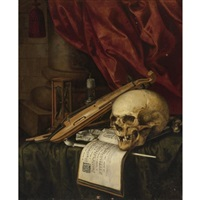 a vanitas still life with a skull, a violin, a musical score, a pipe and tobacco, an hourglass and a candle on a draped table by simon renard de saint-andre