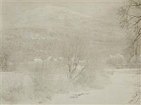snow scene with mountain by william b. post