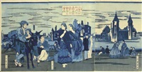 amerikashu no uchi washintonfu no kei dohan no utsushi (+2 others; triptych) by utagawa yoshikazu