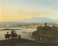 extensive italianate landscape with an elegant company and a lime kiln by karel dujardin