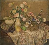 guéridon garni de fruits et de fleurs by emile gastemans