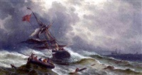 ships tossing on a stormy sea by j. courcettes