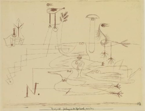 zeichnung zu den vogelinseln 192120 drawing for bird islands 192120 by paul klee