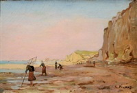 pêcheurs au pied des falaises by louis picard