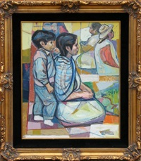 kneeling mother and son by irving amen