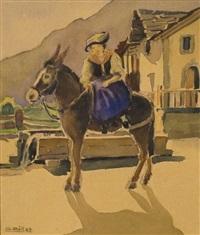 valaisanne sur un âne by g. billet