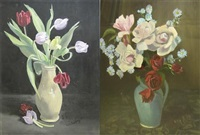 tulips (+ roses; 2 works) by mabel molesworth godfrey