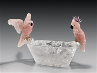 bowl with cockatoo pair by peter muller
