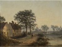figure and ducks on a country lane by thomas smythe