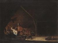 scène d'auberge animée de personnages à la fête by bartholomeus molenaer