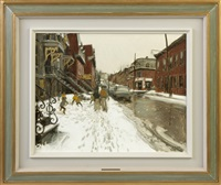 rue de la visitation/kids playing hockey by john geoffrey caruthers little