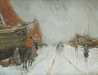 paysage de quai sous la neige by henry stacquet