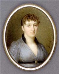 a young lady, in grey gauze dress with black collar, cameo-set black belt, her brown hair upswept and curled by jean antoine laurent