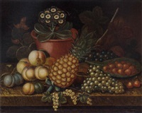grapes, cherries, peaches, plums, cobnuts, auricula and a pineapple, on a marble table by richard smith