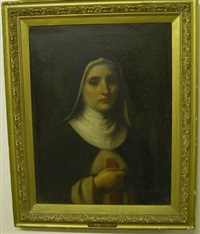 portrait of a nun wearing habit, with rosary and cross by g. muller