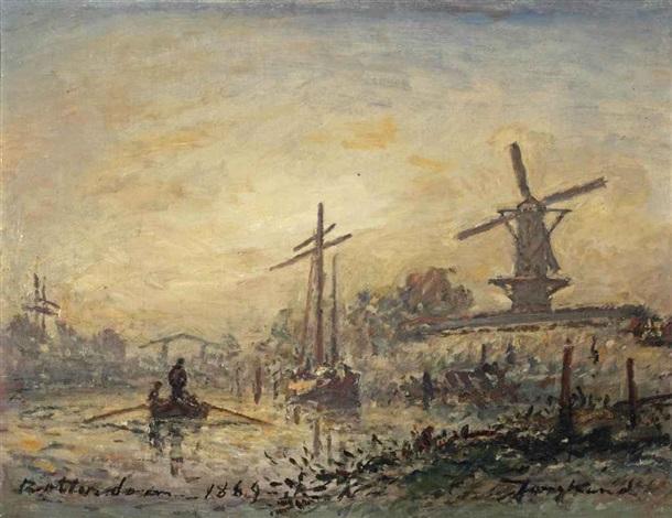 le matin sur la rivière, rotterdam by johan barthold jongkind
