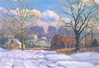 winter country road by wilmer richter