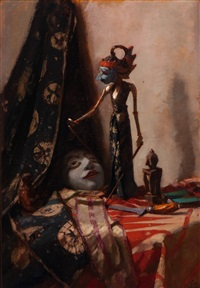 still life with wajang (shadow-puppet) by solomon garf