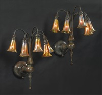 five-light lily sconces (pair) by louis comfort tiffany