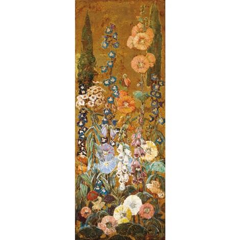 hollyhock panel by mary elizabeth price