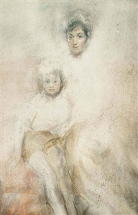 mother and child (study) by ambrose mcevoy