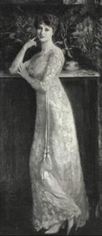 portraet af en dame i hvid selskabskjole by juan (jean) sala gabriel