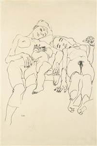 mutter mit kind und schlafende (mother with child and sleeping woman) by egon schiele