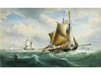 various masted sailing vessels by richard principal leitch
