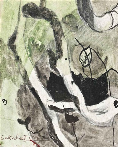 study for trees by the side of a lane by graham sutherland