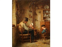 age and innocence, cottage interior with children and their grandfather by edouard frere