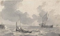 fishing boats in a rough sea by johannes christiaan schotel