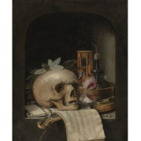 vanitas still life with a wreathed skull, a pochette violin and bow, a deck of cards, a musical score, a pair of dice, a box inscribed poudre de civet, two roses, an hourglass and a snuffed-out candle in a stone niche by simon renard de saint-andre