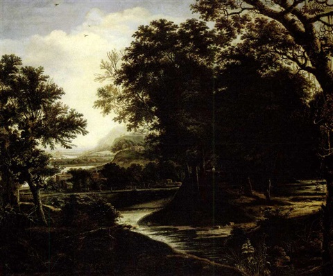 paysage boise avec riviere by dionys verburgh