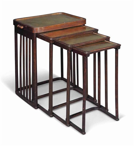 Nest of four stained beech and brass topped tables by josef hoffmann nest of four stained beech and brass topped tables by josef hoffmann watchthetrailerfo